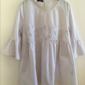 Dolce Vita Embroidered Floral Striped Top Size XL